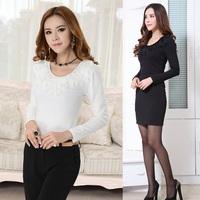 New 2014 Spring Autumn Fashion Women T-shirts Cotton Long Sleeve White Black Slim Ladies Tops Tees  Free Shipping