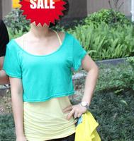 Fashion women's clothing clothes loose solid color casual short half t-shirt women crop tops batwing shirt short-sleeve shirt