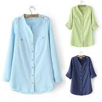 Wholesale Plus Size Women , Long Sleeve Cardigan Shirt , Solid Color Chock Shirts  XL,XXL,XXXL,XXXXL