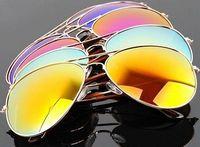 Unisex Colorful Fashion Reflective Sunglasses Gold Green UV400 Glasses MZX-3025