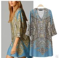 New Arrival 2015 Brand design Trendy Womens National Print V Neck Elegant Dress Dresses Vestidos