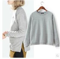 Brand Design 2015 Fashion Womens Gray Side Zipper Deco inside Fleece Sweatshirt Sweatshirts Jumper Hoodie