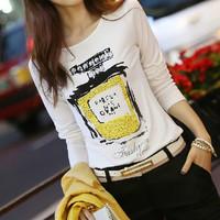 Fall 2014 new women's clothing fashion bottoming shirt crew neck printed cotton slim leisure long sleeve women's t shirt