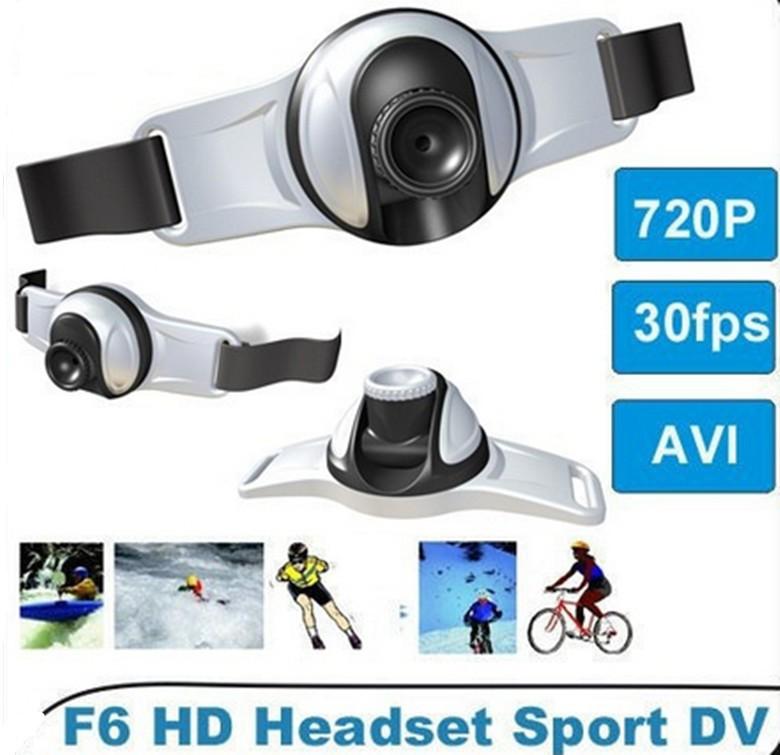 2014 new hot sale 1280*720P HD outdoors headset sports Video Camera DV with flashlight 8GB memory DVR Camera DV F6 action camera(China (Mainland))