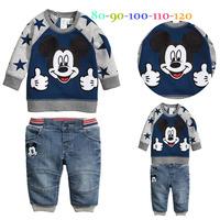 Retail mickey coat pants 2pcs set baby boy clothes spring autumn kids clothes sets