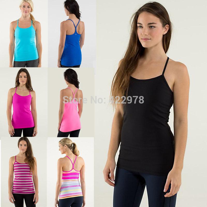 New lulu Yoga top size:2-12 Women Yoga Vest Fashion Sport Tank Tops Tees Sportswear With bra,10Colors free shipping!!!(China (Mainland))