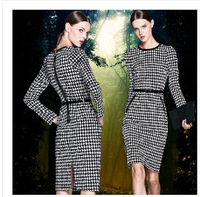 Free Shipping Euro Women Autumn Winter Victoria beckham Long Sleeve Houndstooth Plaid Sexy Pencil Dress Knee Length With Belt