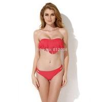 2014 New Hot Sale Swimwear Women Padded Boho Fringe Bandeau Bikini Set New Swimsuit Lady Bathing suit