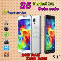 MTK6592 Octa core i9600 2GB RAM Fingerprint S5 Phone 5.1inch 1920*1080 Resolution 3G WCDMA Smart phones Android 4.4 Mobile Phone