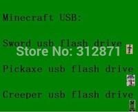 Wholesale Minecraft USBs Sword usb falsh Pickaxe usb Disk,Creeper usb Memory usb flash drive 128MB 4GB 8GB 16GB 32GB 64GB
