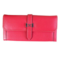 Free shipping leather buckle zipper two fold leather wallet latest new fashion women