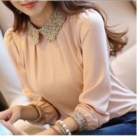 Blusas Femininas 2014 Autumn Women Blouses Ladies Casual Vintage Long Sleeve Fashion Black Pink Plus Size Chiffon Shirt Blouse