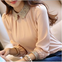 Blusas Femininas 2014 Autumn Women Blouses Ladies Casual Vintage Long Sleeve Fashion Black Pink Plus Size Chiffon Shirt Blouse