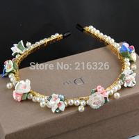 2014 Korea fashion hair sticks latest design ceramics flowers pearls woven luxury headband baroque xiu elegant headband jewelry