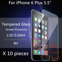 10 pieces 0.3 mm  2.5d Thickness 9H Premium Explosion-proof Shattetproof Tempered Glass Screen Protector Film For  iPhone 6 Plus