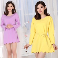 Fall 2014 new dress O-Neck Turtleneck Long Sleeve solid color women work fashion women dress With a sashes