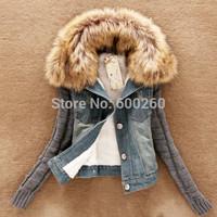 2015 new women's spring Autumn short denim jacket women winter slim yarn large fur collar lamb cotton denim outerwear jeans