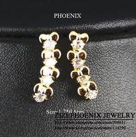 HEE054 Wholesale 2014 New 14K Gold Plated Butterflies Zirconia Stud Earrings women brincos bijoux boucle d'oreille Mujer ouro