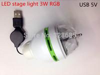 Portable 3W RGB USB 5V Super bright LED Stage Lamp Rotating Laser Light Party DJ Xmas Club Bulb