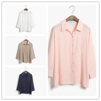 Fall 2014 new women Cardigan plus size fashion leisure loose long sleeve cotton shirt women's clothing