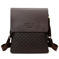 2014 Fashion Polo Videng Brand Men's Messenger Bags Men Genuine PU Leather Shoulder Bag Plaid Checkered Design Male Handbag VP-4