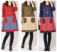 new fashion spring autumn cotton long sleeve plus size vintage  women casual loose vestidos feminino sdress party dresses 2014
