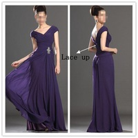 2014 New Arrival ! Free Shipping ! Cheap Price ! Beading Cap Sleeves Pink Blue V Neck Chiffon Purple Evening Dresses OL9332