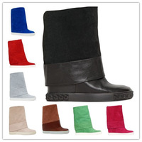 2014 Casad Genuine Leather Boots shoes Fur warm Wedges suede Boots Women Height Increasing Platform Knee high Boot winter autumn