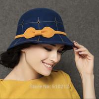 vintage woolen fedoras women noble fashion ladies fedora hats bow fedora winter autumn spring