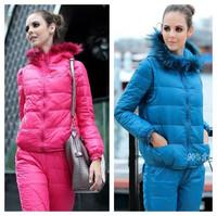Thick 2014 Winter Ladies Slim three-piece Sport suit jacket +Vest+pant Women Coat Fashion Fur Hooded Overcoat Parka