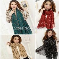 Hot Women Lady Winter Autunm Spring Dots Spot Star Chiffon Soft Shawl Scarf Neck Wrap Headscarf 5 Colors Free Shipping