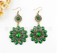 Green Fashion jewelry filigree casting fishhook earring + Flower earrings + Acrylic bead + Free shipping!