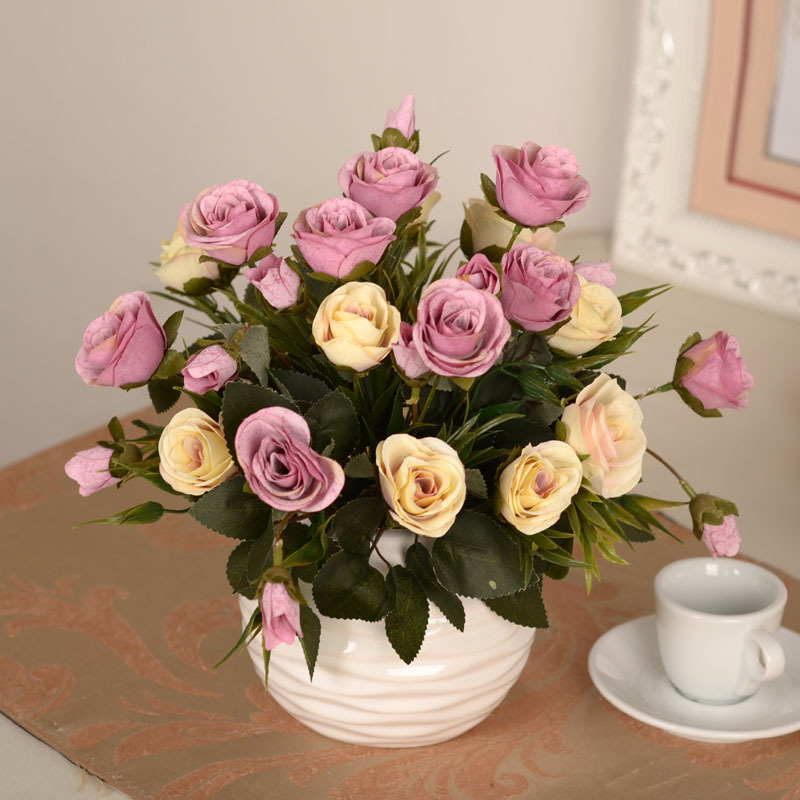 European Snow Rose Valentine Gift Simulation Silk Dried Flowers Wedding Decoration 6 Colors To Choose Can Be Mixed Wholesales(China (Mainland))