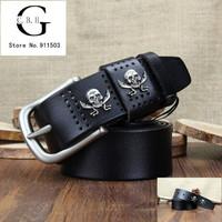 Vintage Belt Skull decoration high-end Men's Genuine Leather Belts pin buckle pure leather belt unisex Leisure belt