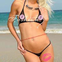 2015 Women extreme hot transparent triangle Sexy mini micro bandage Bikini swimwear Set bra G string thong Lingerie swimsuit