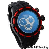 2014 New Brand invicta watch Mens Top Brand Luxury Sports Watches Man atmos clock Silicone Black PU Leather Strap Quartz Watch