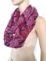 Rose Flower Print Infiniti Loop Scarf Scarves Women's Accessories Valentine's Day Gift, Free Shipping