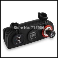 Car Auto 12V Cigarette Lighter USB Sockets Charger Voltmeter Digital Display