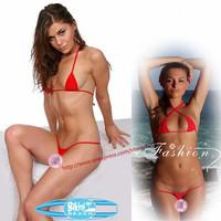 2015 Women extreme hot Sexy triangle brazilian mini micro brazilian Bikini swimwear Set bra G string thong Lingerie Underwear