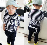 sz90~140 Autumn baby boys clothing set child pullovers+pants suit children clothes set 30p stripes anchor kids tracksuits