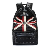 070957  European and American fashion PU leather travel large capacity rivet unisex backpack