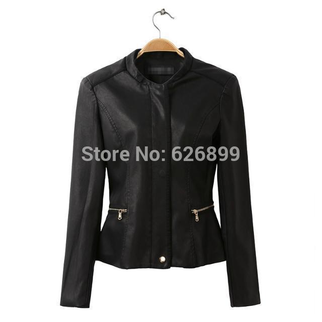 High Quality Women's Faux Leather Jacket Jaqueta Couro Long Sleeve Biker Motorcycle Blazer Ladies's Suit Coat DA12(China (Mainland))