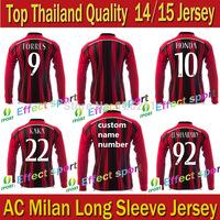 A+++ AC Milan Thailand Long Sleeve 2015/14 Soccer Jersey Football Shirt Balotelli Shaarawy  AC longsleeve  milan longsleeve