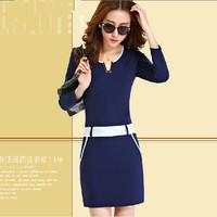 New 2014 Korean Style Autumn & Winter Women Work Wear OL Slim Dress Casual Long Sleeve V-Neck Dresses Plus Size  DD167
