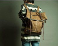 Fashion Unique Designer Men And Women Vintage Casual Canvas Genuine Leather Travel Bags School Backpacks Hiking Cycling Camping