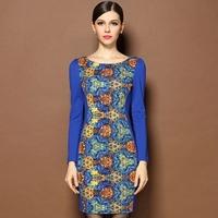 Autumn Fashion Women Brand Dresses Plus Size O Neck Long Sleeves Appliques Flowers Vintage Printed Sheath Elegant Runway Dress