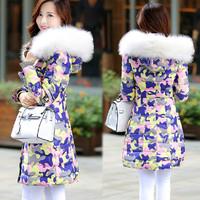 New 2014 100% Duck Down Fashion Camouflage Long Down Jacket Elegant Luxury Large Fur Collar Parkas Winter Jacket Women JC058