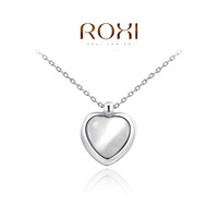 2014 New Fashion Jewelry Platinumd Plated Statement Heart Shaped Opal Necklace For Women Party Wedding Free Shipping