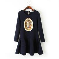 New 2015 Brand design Trendy Womens/Ladies Autumn Winter Court Embroidery Character Print Dress Dresses Vestidos