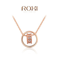 2014 New Fashion Jewelry Rose Gold Plated Statement Heart Shaped Round Necklace For Women Party Wedding Free Shipping